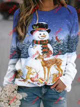 Snowman With Friends Printed Sweatshirt As Pic / S