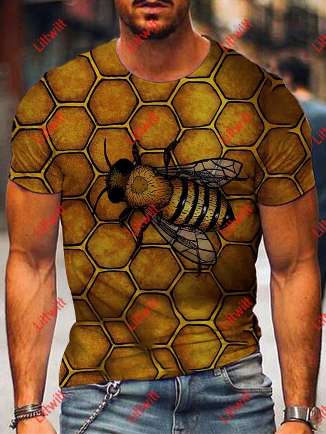 Mens Honey Bee Art Print Short Sleeve Crew Neck T-Shirt As Pic / S