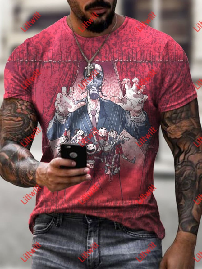 Mens Creative Puppet Play Art Print Short Sleeve Crew Neck T-Shirt As Pic / S