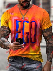 Mens Colourful Ego Textual Art Print Short Sleeve Crew Neck T-Shirt As Pic / S