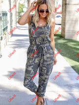 Camouflage Printed Tie Sleeveless Jumpsuit Jumpsuits
