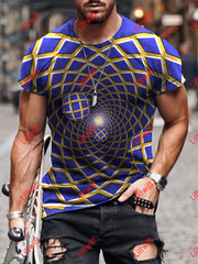 Mens 3D Graphic Optical Illusion Balls In The Tube T-Shirt As Pic / S
