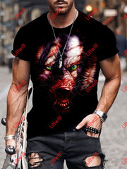 Mens Fashion Danger Wolf Dark Art Print Short Sleeve Crew Neck T-Shirt As Pic / S