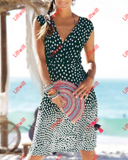 Sexy V-Neck Gradient Dot Printed Dress(2 Colors) S / Green Dresses