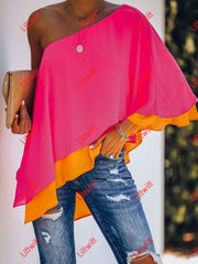 Cosmos Layered One Shoulder Blouse Tops
