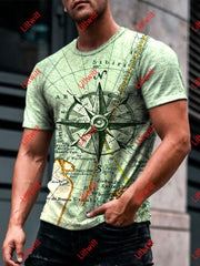 Mens Casual Vintage Nautical Map And Compass Art Print Short Sleeve Crew Neck T-Shirt As Pic / S