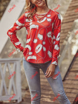 Christmas Long Sleeved V-Neck All Match T-Shirt Hat / S