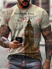 Mens Fashion The Times London On Newspaper Art Print Short Sleeve Crew Neck T-Shirt As Pic / S