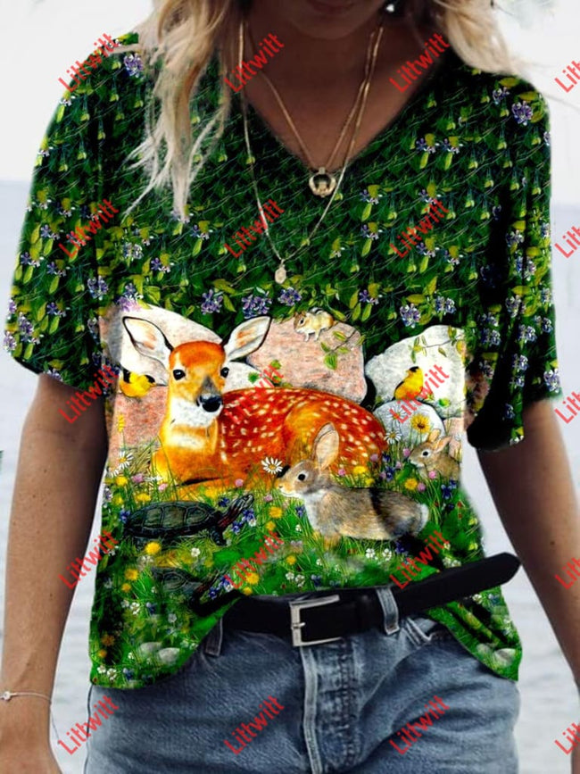 Forest Animal Friends Print T-Shirt As Pic / S