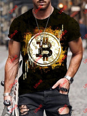 Mens Casual Virtual Currency Bitcoin Art Print Short Sleeve Crew Neck T-Shirt As Pic / S