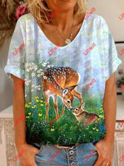 Newest Deer Print T-Shirt As Pic / S