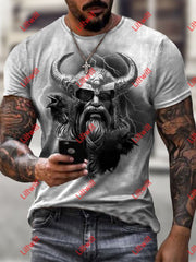 Mens Casual Odin Art Print Short Sleeve Crew Neck T-Shirt As Pic / S
