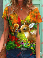 Lovely Deer And Squirrel Print T-Shirt As Pic / S