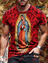 Mens Casual Virgin Mary Loose Round Neck Short Sleeve T-Shirt As Pic / S