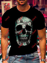 Mens Trendy Money Skull Art Print Crew Neck Short Sleeve T-Shirt As Pic / S