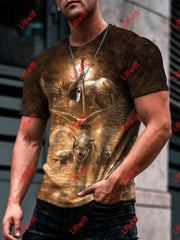 Mens Fantasy Ancient Power Of Creature Art Print Short Sleeve Crew Neck T-Shirt As Pic / S