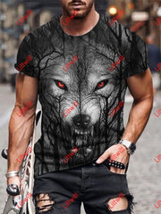 Mens Creative Red Eyes Forest Wolf Dark Art Print Short Sleeve Crew Neck T-Shirt As Pic / S