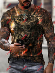 Mens Casual Shadow Wolf Dark Art Print Short Sleeve Crew Neck T-Shirt As Pic / S