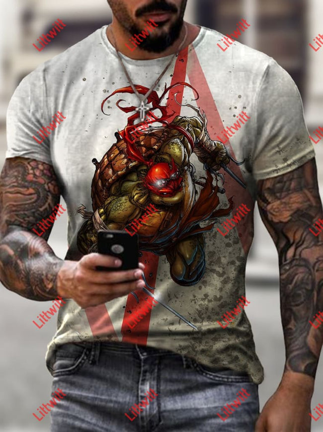 Mens Teenage Mutant Ninja Turtle Art Print Short Sleeve Crew Neck T-Shirt As Pic / S