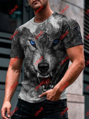Mens Roaring Mountain Wolf Art Round Neck Print T-Shirt As Pic / S