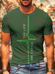 Mens One Life Chance Art Print Round Neck T-Shirt