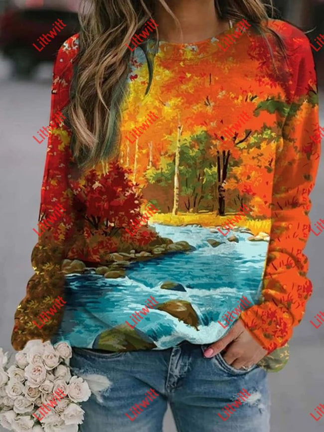 Fairy Forest Printed Sweatshirt As Pic / S