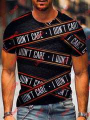 Mens I Dont Care Crew Neck T-Shirt As Pic / S