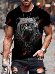 Mens Bulldog Cigar Art Round Neck Print T-Shirt As Pic / S
