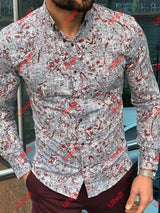 Mens Gray Casual Long Sleeve Printed Shirt As Pic / S
