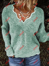 Autumn And Winter V-Neck Casual Sweater Green / S
