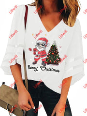 Merry Christmas V-Neck Mesh Pagoda Sleeve Blouse White / S