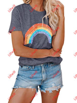 Round Neck Short Sleeve Rainbow Tee S / Gray