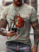 Mens Trendy Ladybug Dictionary Page Print Crew Neck Short Sleeve T-Shirt As Pic / S