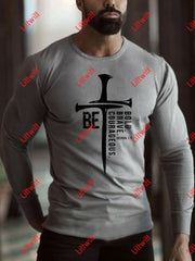 Mens Be Bold Brave Courageous Joshua Printed Long Sleeve T-Shirt