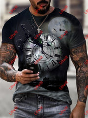 Mens Creative Abstract Clock Black Art Print Short Sleeve Round Neck T-Shirt As Pic / S