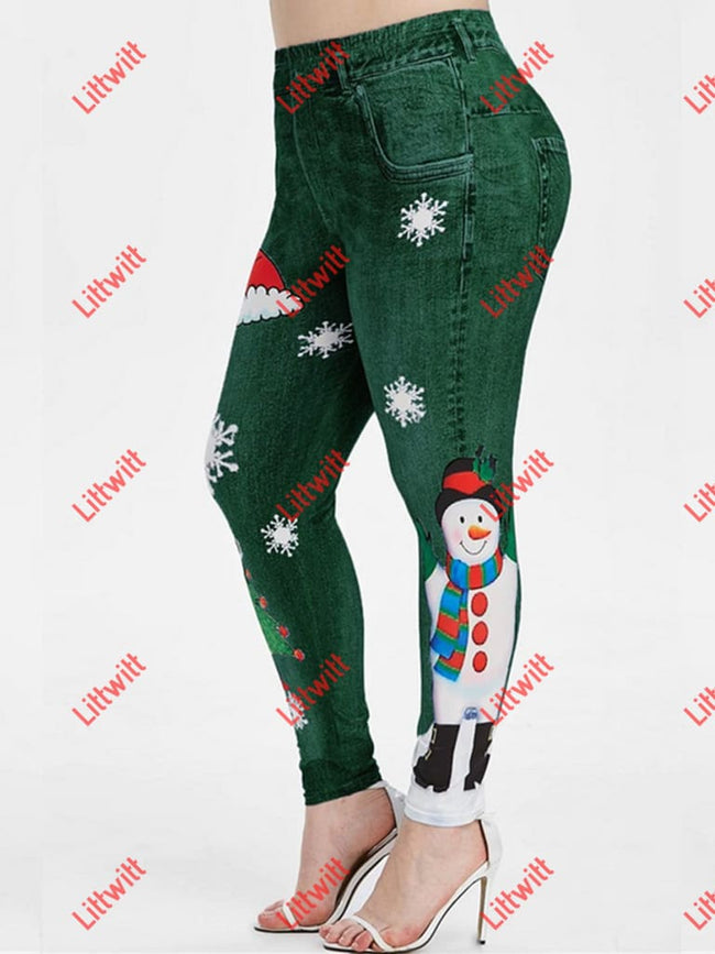 Elastic Christmas Day Printing Skinny Pants Green / S
