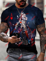 Mens Trendy Heart A Soldier Pokers Art Print Short Sleeve Crew Neck T-Shirt As Pic / S
