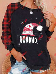 Round Neck Plaid Christmas Printed Sweatshirt