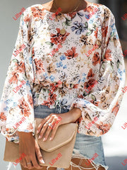 Puff Sleeve Floral Blouse Red / S Sweaters&cadigans