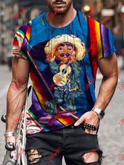 Mens Fashion Guitar Marionette Colouful Art Print Short Sleeve Crew Neck T-Shirt As Pic / S
