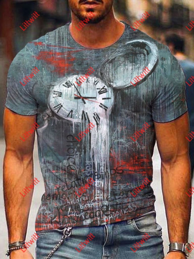 Mens Casual Abstract Clock Gray Art Print Short Sleeve Round Neck T-Shirt As Pic / S