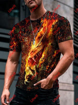 Mens Fashion Danger Dragon Cool Art Print Short Sleeve Crew Neck T-Shirt As Pic / S