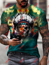 Mens Indian Tribal Half Tiger Skull Art Print Short Sleeve Crew Neck T-Shirt As Pic / S