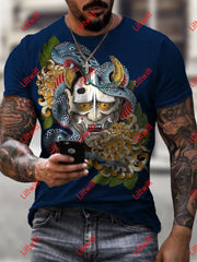 Mens Creative Janpanese Hannya Mask White Art Print Crew Neck Short Sleeve T-Shirt As Pic / S