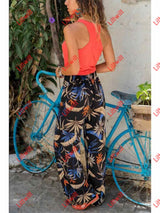 Bohemia Elastic Waist Printed Vacation Pants