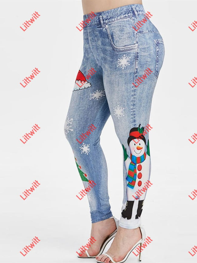 Elastic Christmas Day Printing Skinny Pants Blue / S