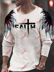 Mens Feather Faith Art Print Trendy Long Sleeve Shirt