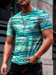 Mens Casual Colour Gradients Art Print Short Sleeve Crew Neck T-Shirt As Pic / S
