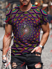 Mens Graphic Optical Illusion 3D Mural T-Shirt