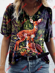 Creative Deer Print T-Shirt As Pic / S